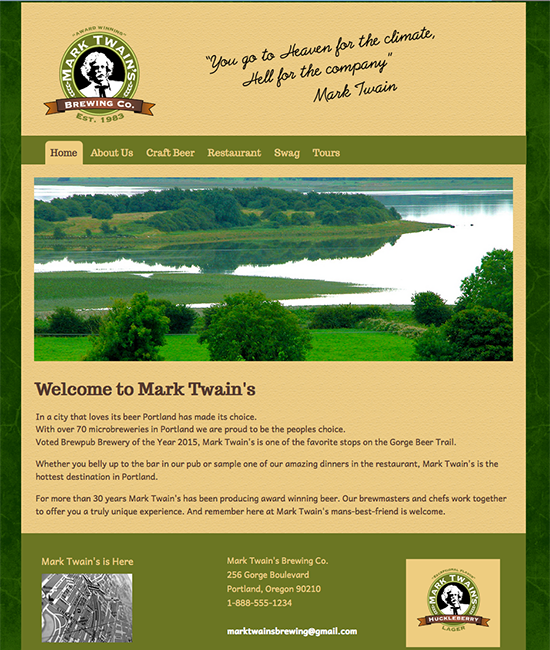 Mark Twain's Brewing Co. Home page